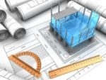 3d illustration of modern building project and blueprints