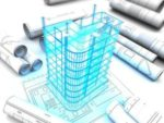 3d illustration of building design project over blueprints
